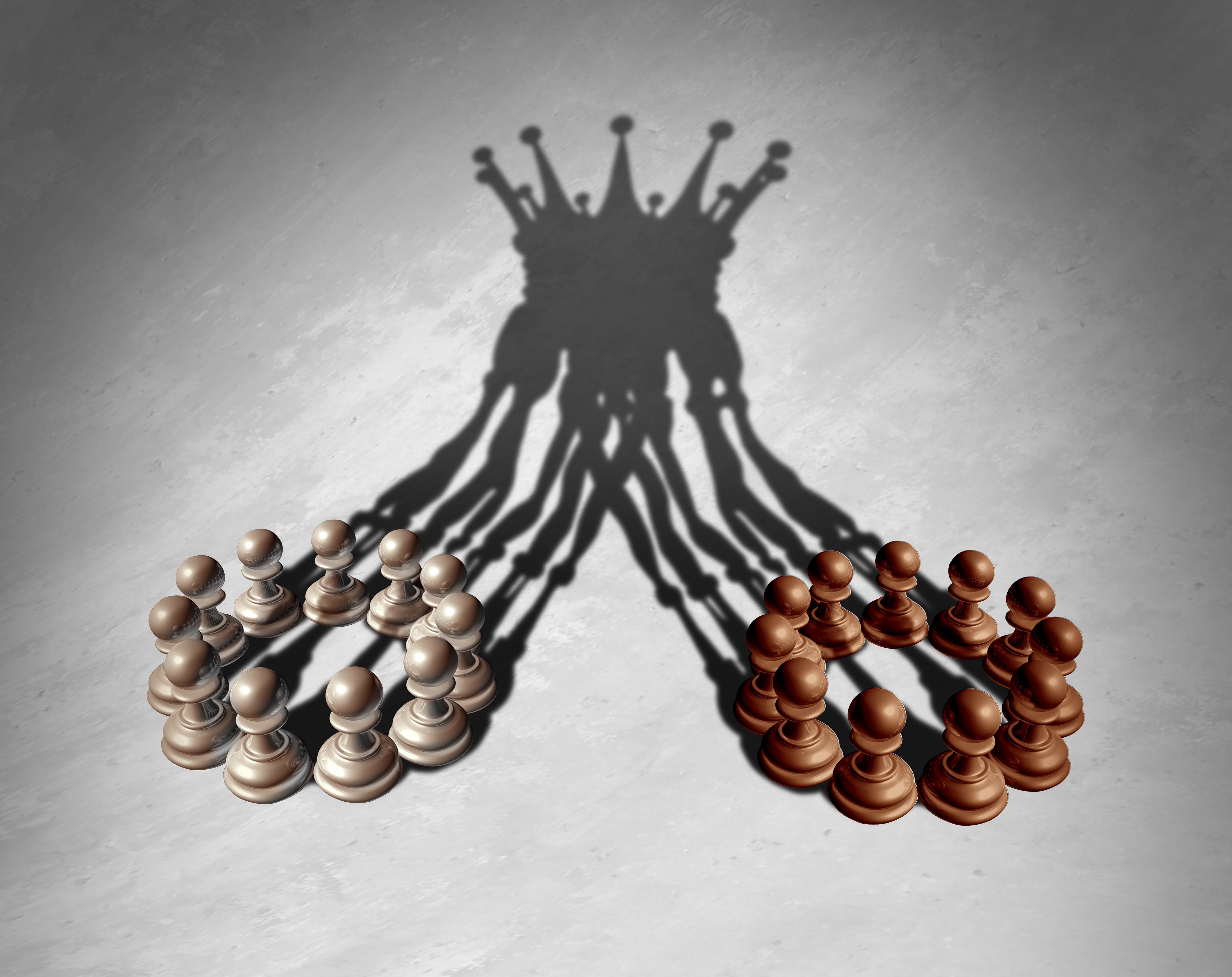 Image of chess pawns forming a king crown cast shadow to represent a merger.