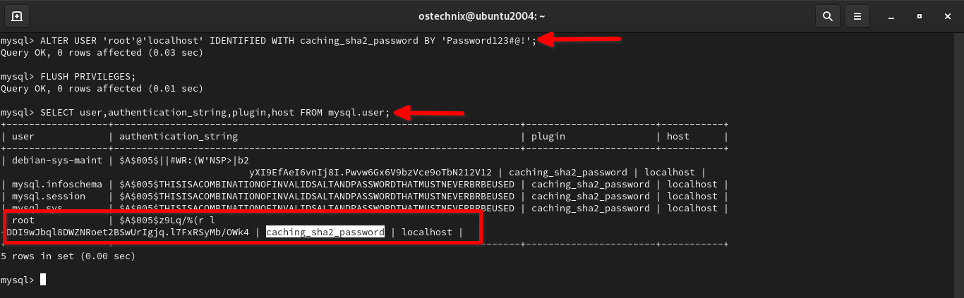 Change authentication plugin to caching_sha2_password for MySQL root user