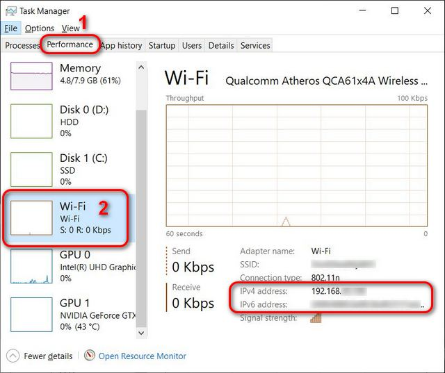 Find Your IP Address on Windows Task Manager