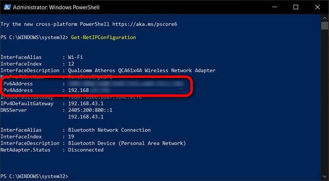 Find Your IP Address on Windows PowerShell