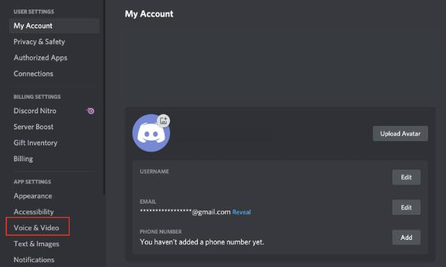 discord voice and video settings
