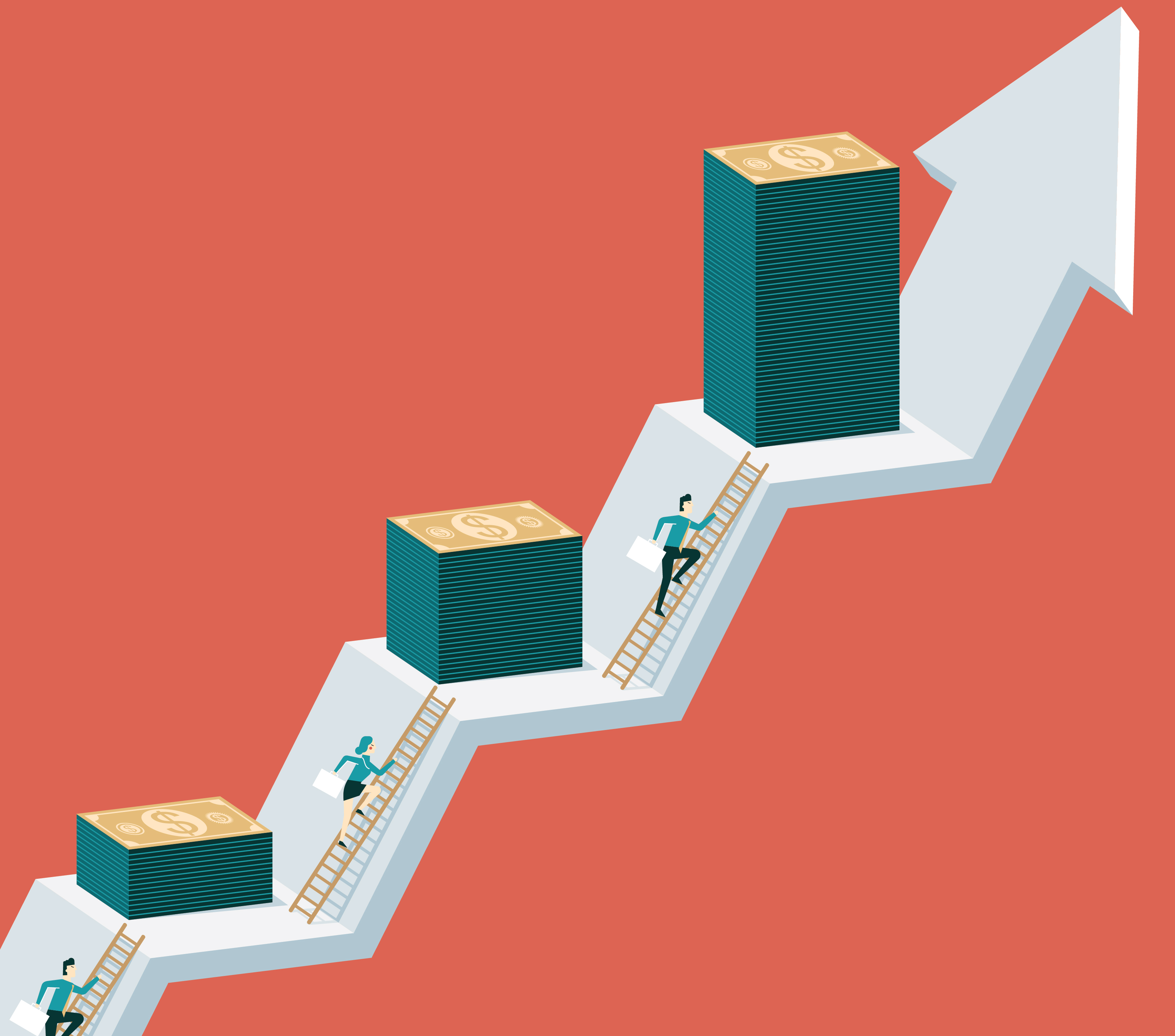 Image of businesspeople climbing ladders up an arrow toward three increasingly tall piles of cash.