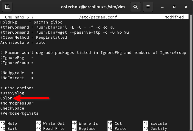 Enable color in pacman in Arch Linux