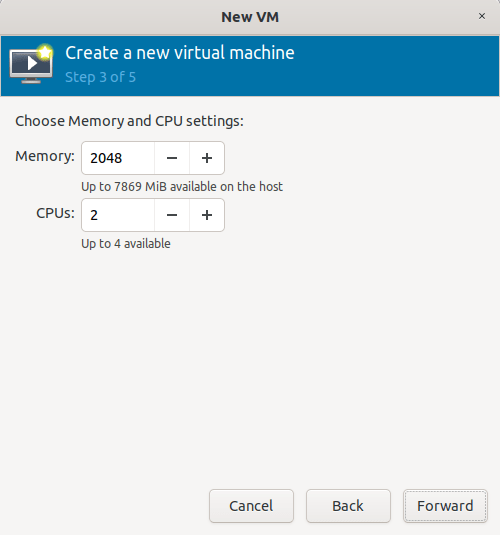 select memory and vcpu for kvm guest