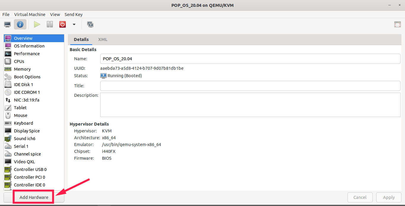 add new virtual hardware for KVM guest