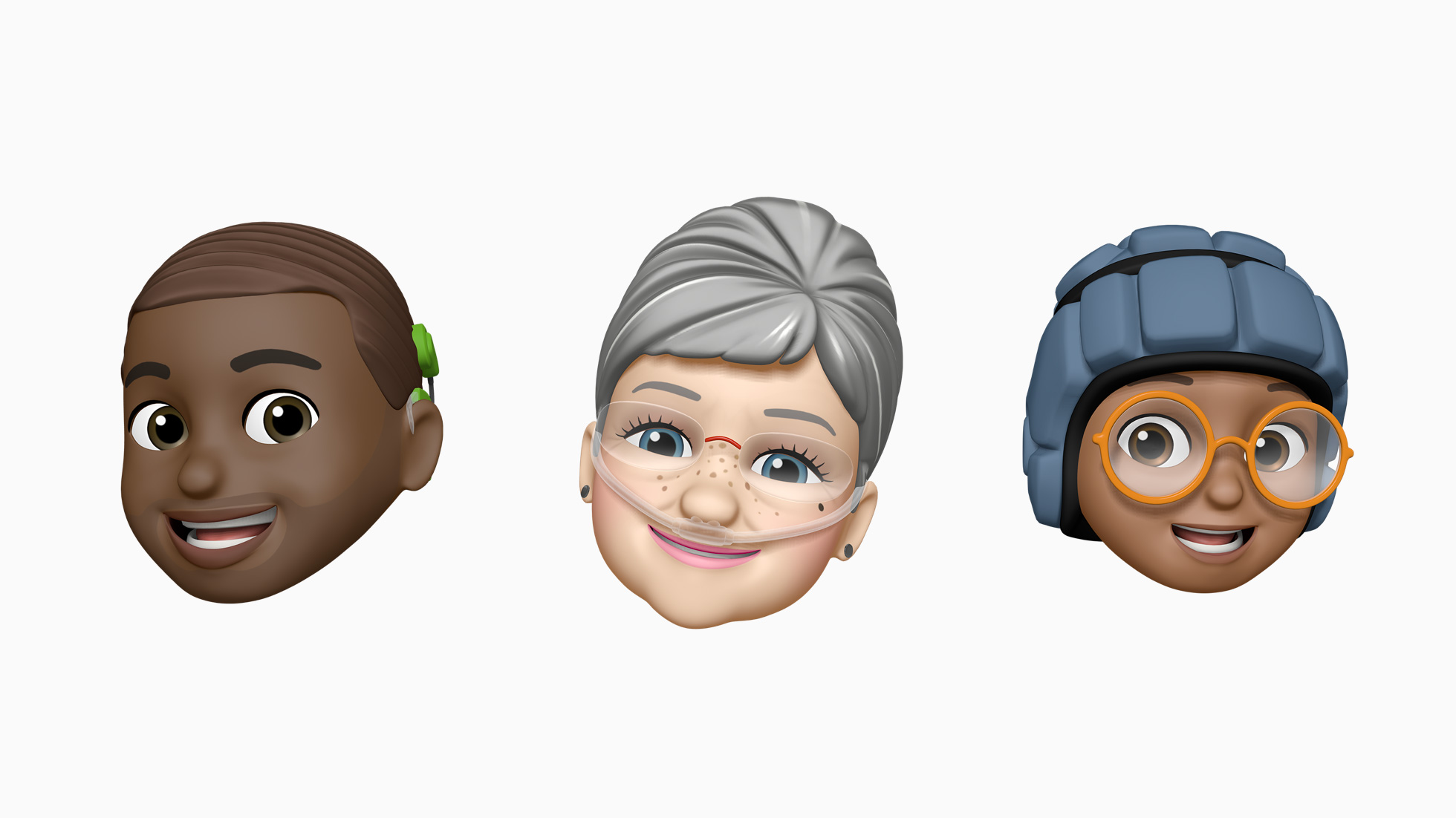 Images of Apple Memoji with a cochlear implant, an oxygen tube, and a soft helmet.
