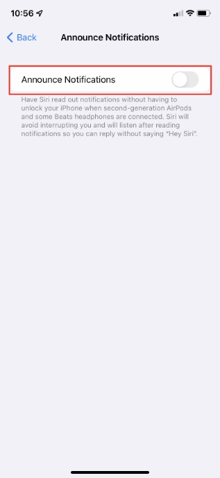 enable announce notifications toggle in iPhone