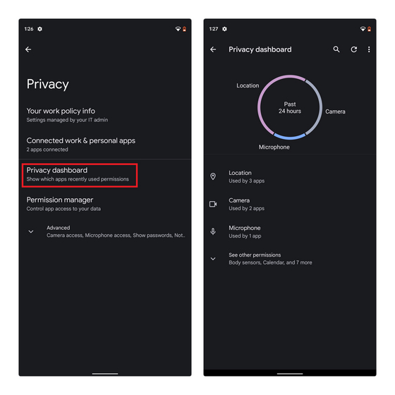 Privacy Dashboard Android 12