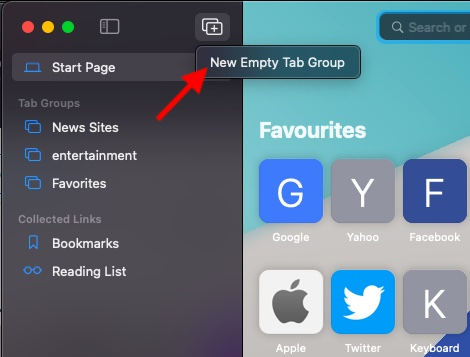 Another way to create a tab group