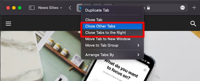 Close other tabs