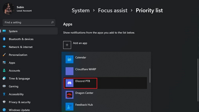 pick apps priority list w11