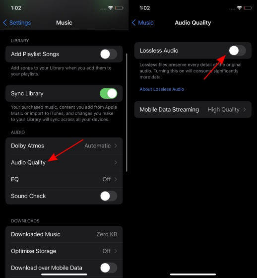 enable lossless audio in apple music on iphone