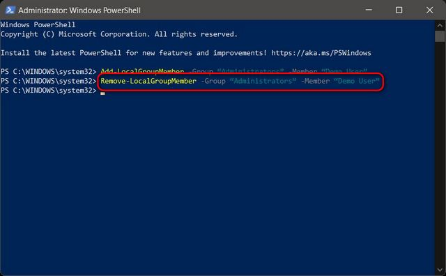 Change Account Type From Standard to Administrator Using PowerShell in Windows 11