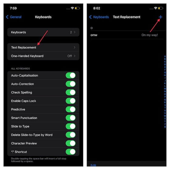Select Text replacement in ios