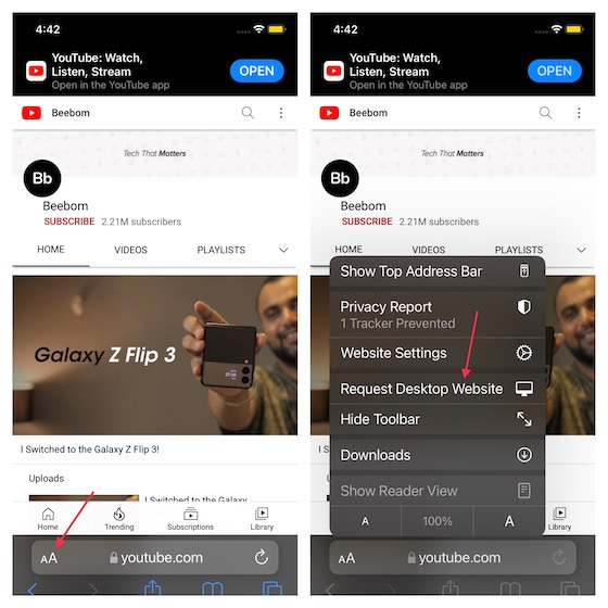 Choose Request Desktop Website option - use youtube picture-in-picture (PiP) mode on iphone